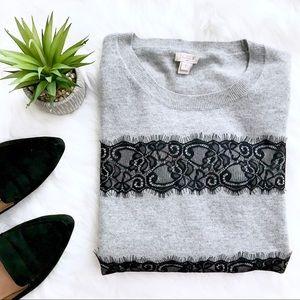 J. Crew Lace Stripe Sweater